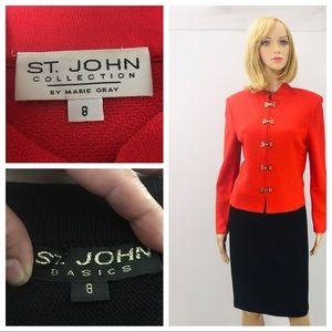 St. John collection orange jacket/basic skirt SZ 8